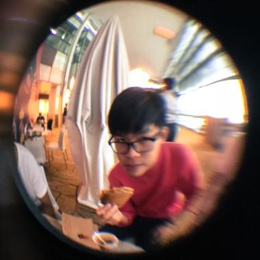 Samuel, enjoying some toast.